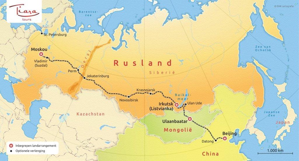 Routekaart Trans Baikal Express - Tiara Tours