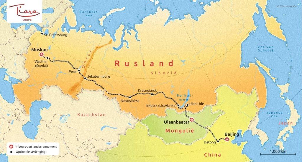 Routekaart Trans Mongolie Express - Tiara Tours