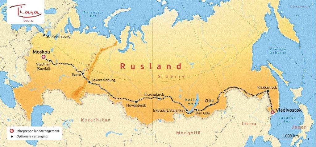 Routekaart Trans Siberie Express - Tiara Tours