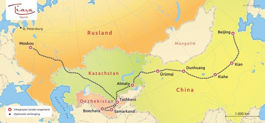 Routekaart Zijderoute - Tiara Tours