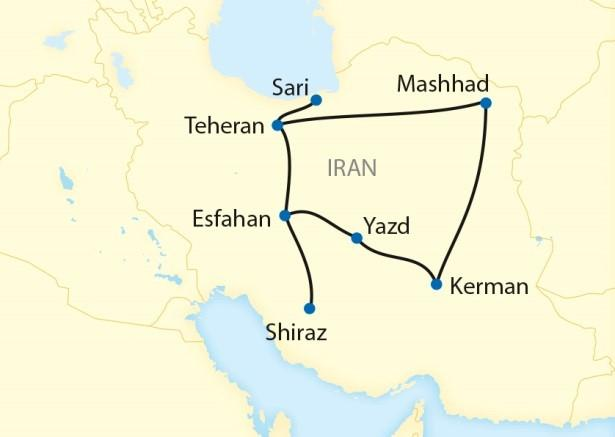 routekaart trans perzië express - Tiara tours